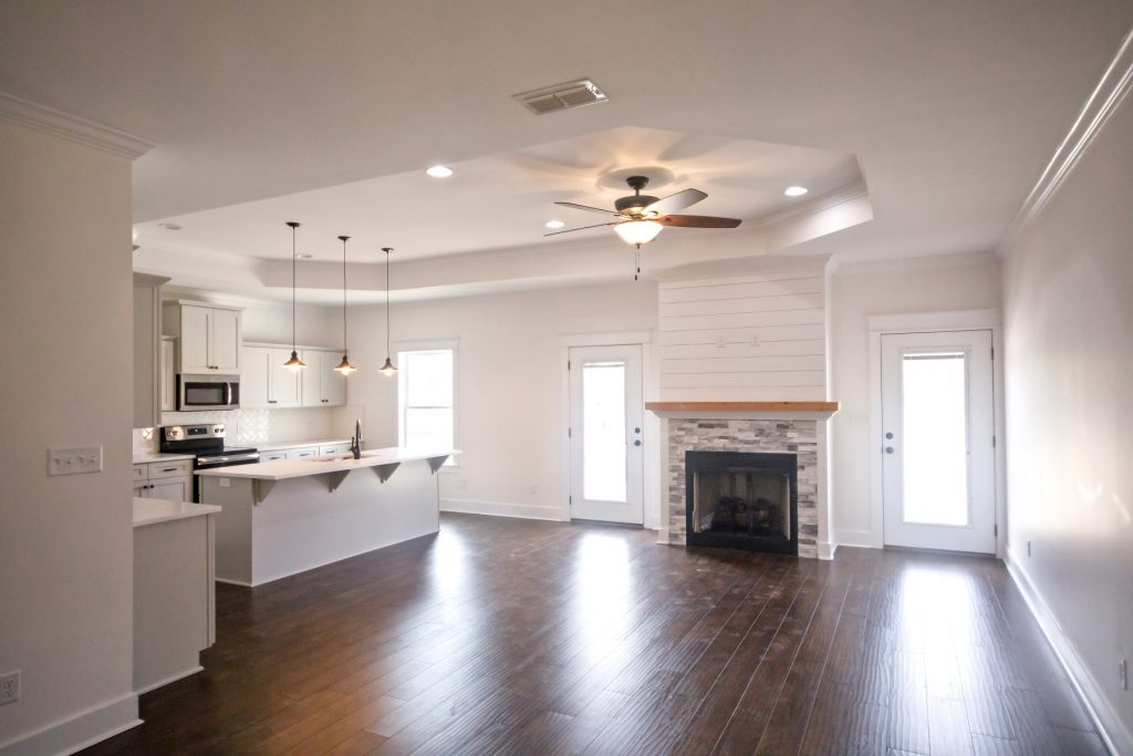 Open Living Dining Room Kitchen Floor Plan in New Construction Home