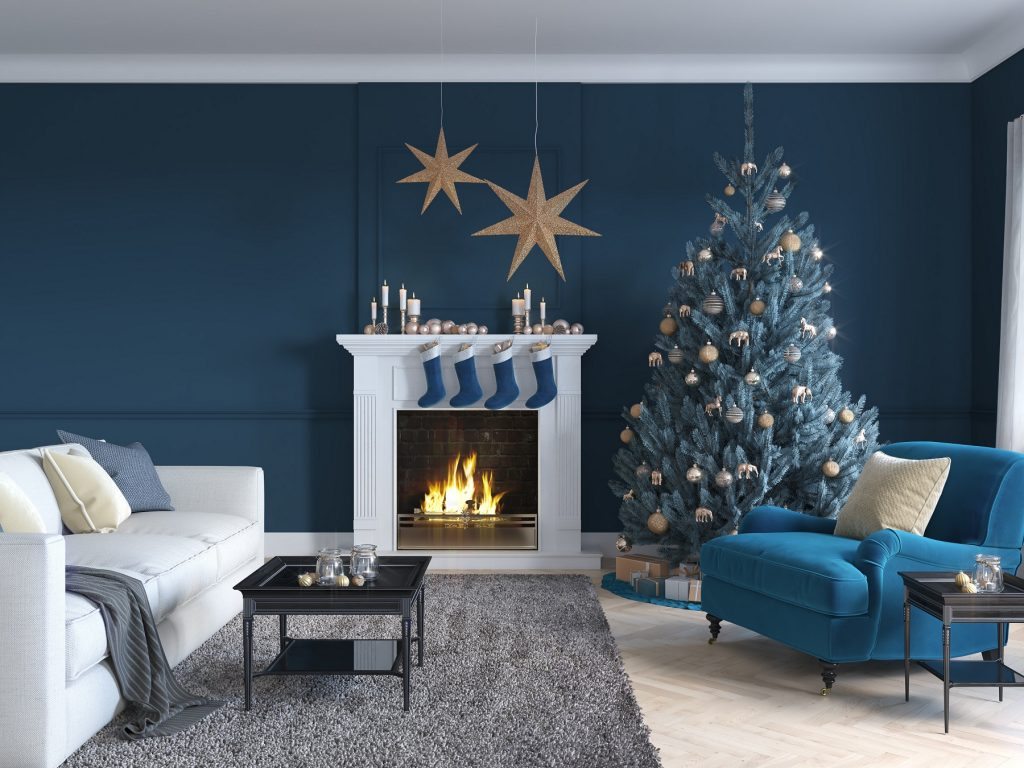 christmas scene with decorated tree and fireplace
