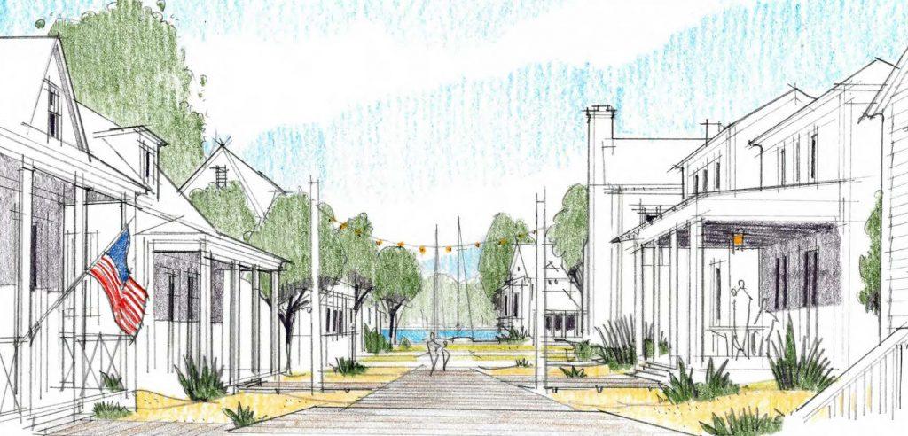 The Docks Sidewalk View Homes - New Waterfront Community