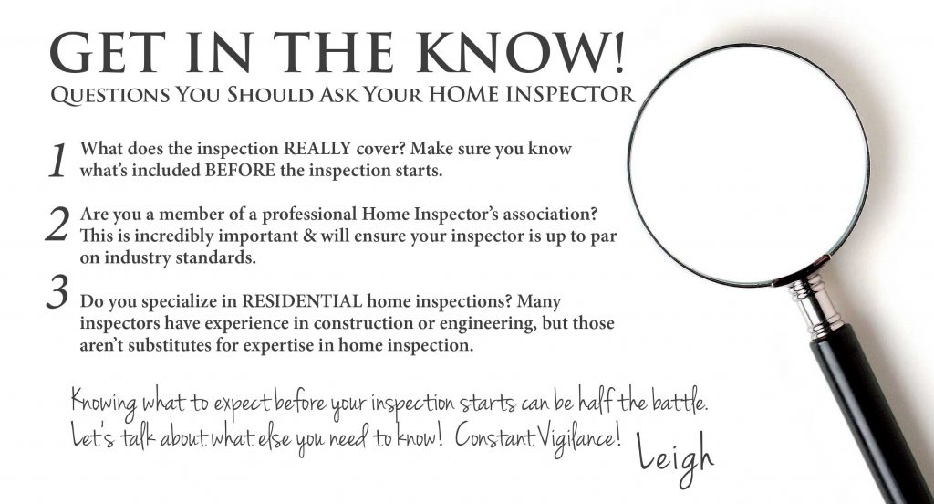 Leigh Brown & Associates top 10 home inspector questions